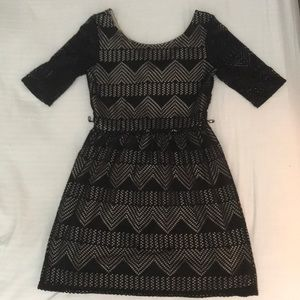 Black patterned mini dress, fitted, size S